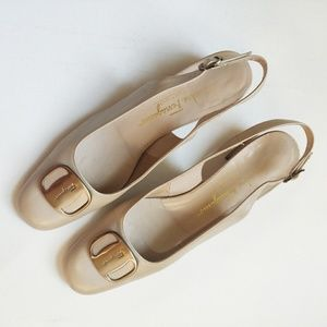 Salvatore Ferragamo Large Logo Bar Pearl Heels